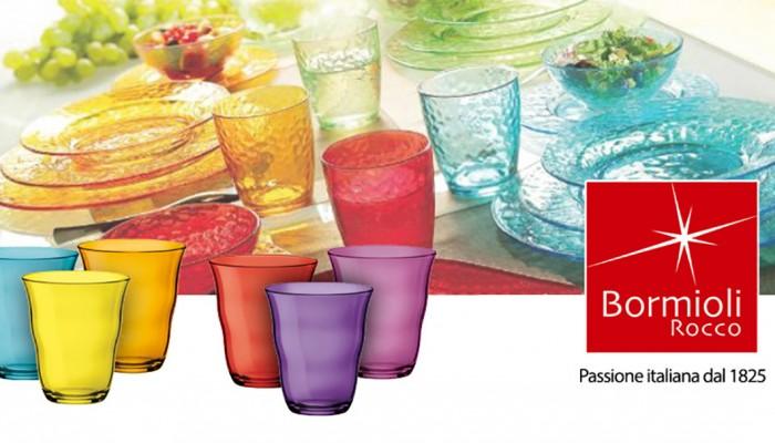 Bicchieri e piatti colorati di Bormioli Rocco