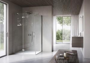 doccia in vetro in bagno moderno