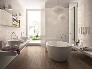 bagno moderno con vasca a terra