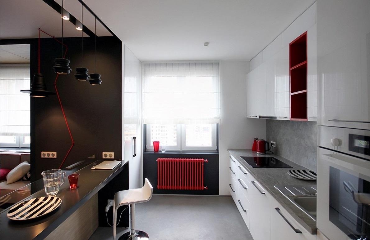 cucina moderna con radiatori colorati